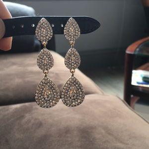3-Drop CZ Studded Earrings